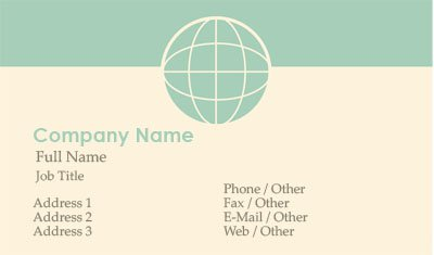 Green and Tan Globe Business Card Template